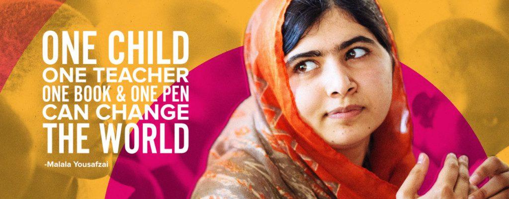 Ett barn, en lärare, en bok, en penna kan förändra världen. Malalafonden